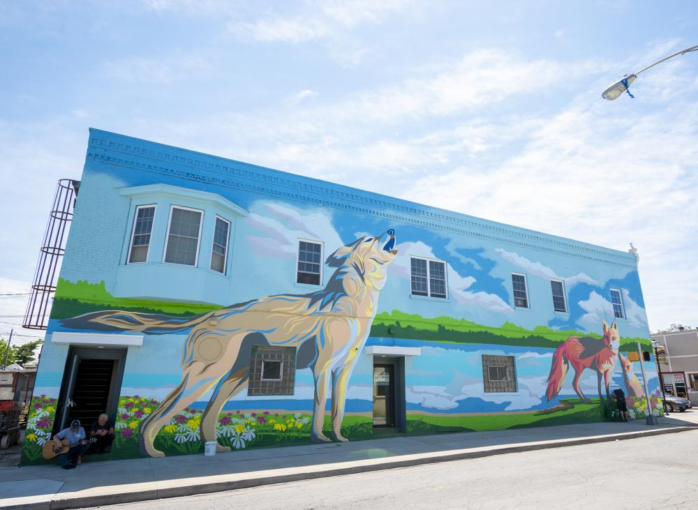 Wolf and Fox mural at Wells and Fourth Streets, created by Jerrod Tobias