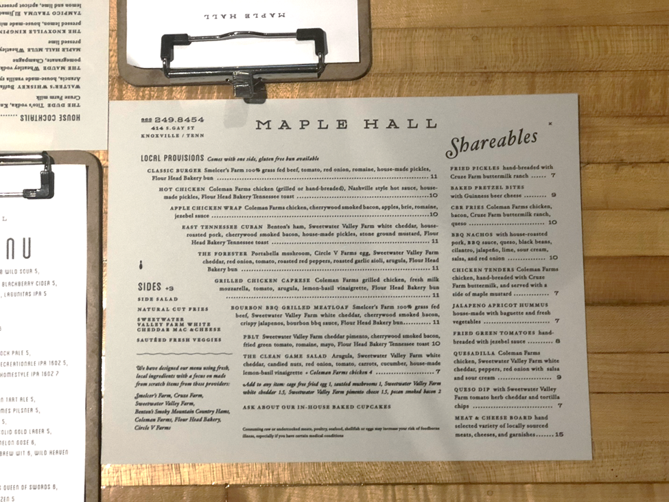 Maple Hall Menu