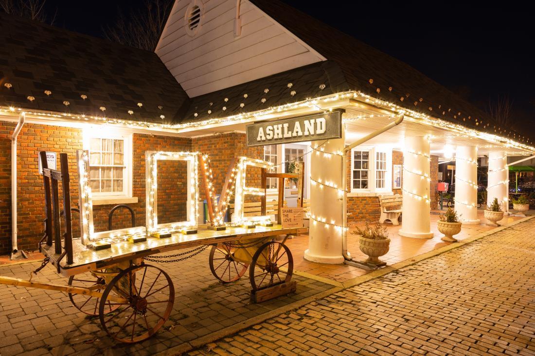 Ashland train station holiday lights