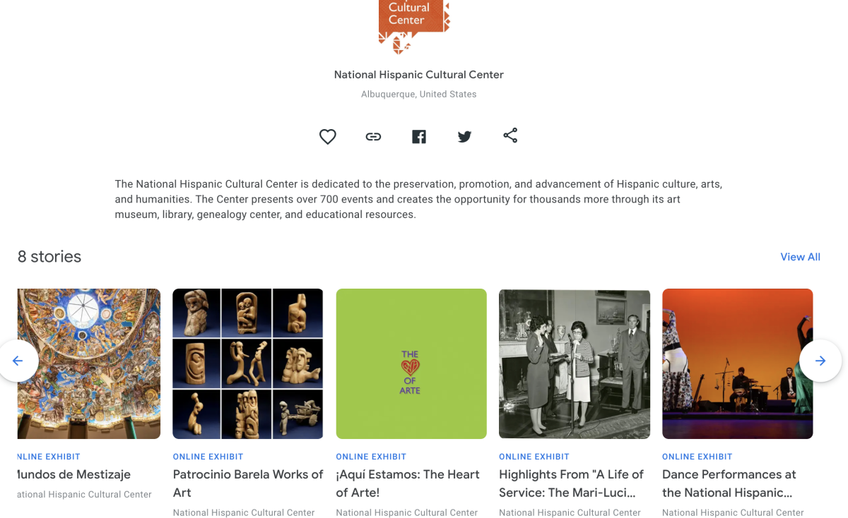 Screenshot of the museum's virtual page