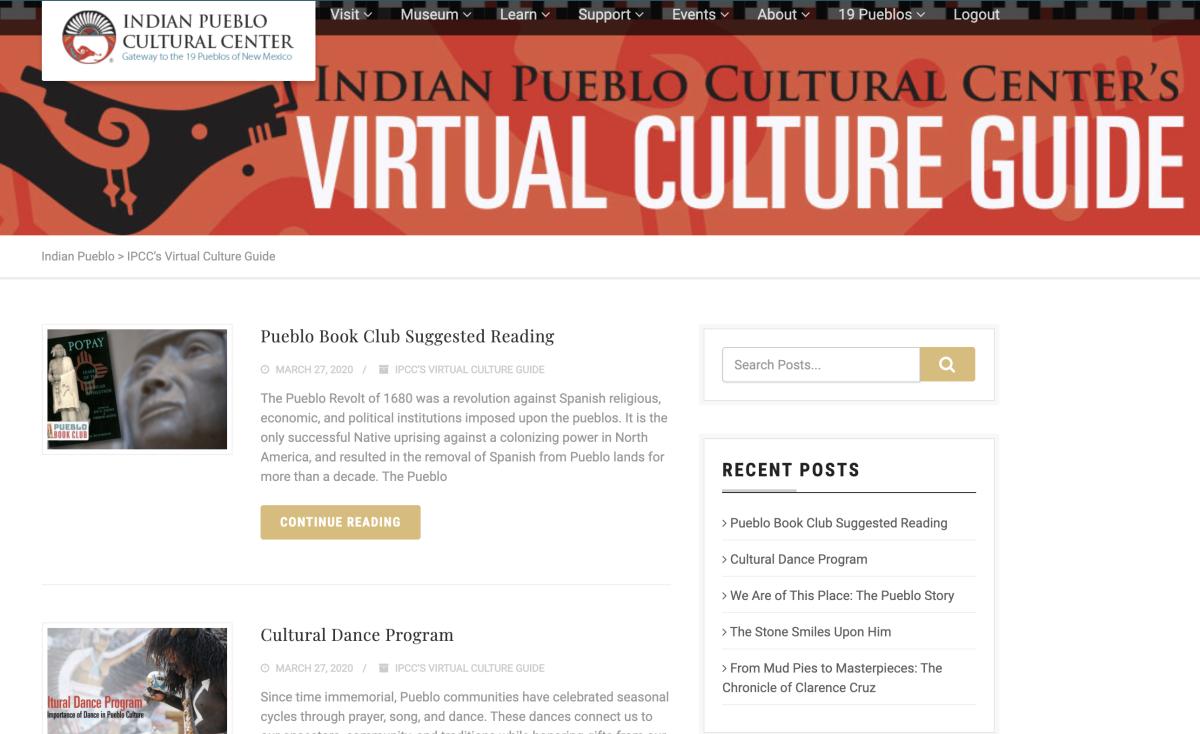 A screen shot of the Indian Pueblo Cultural Center's Virtual Culture Guide.