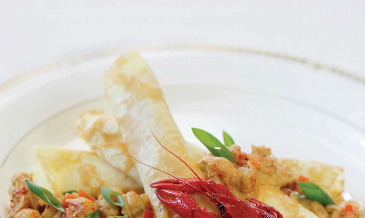 Muriel's Crawfish Goat Chees Crepes