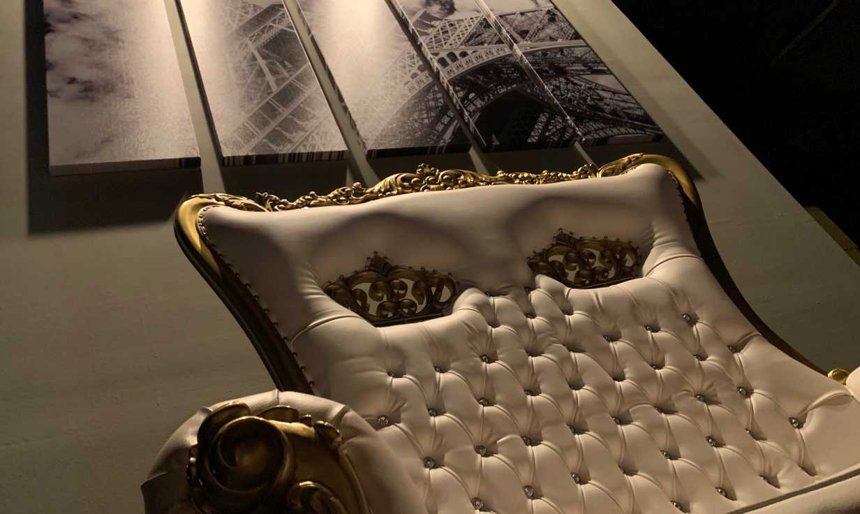 White & Gold Sofa under Eiffel picture