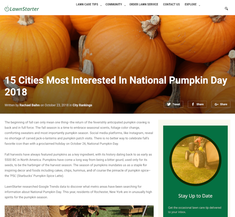 15 Cities Most Interested in National Pumpkin Day 2018