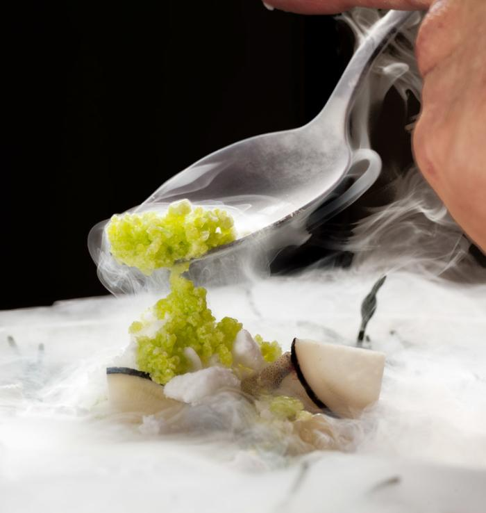 Close up of award-winning food at Alinea restaurant in Chicago