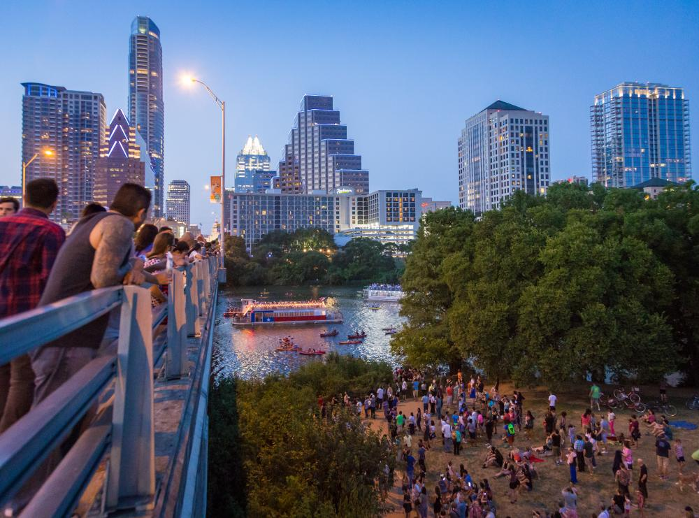 People waiting to see the bats at the Congress Ave Bridge in Austin Texas