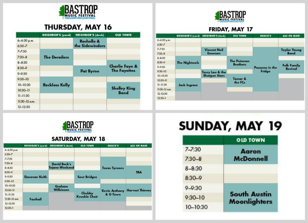 4 day music schedule