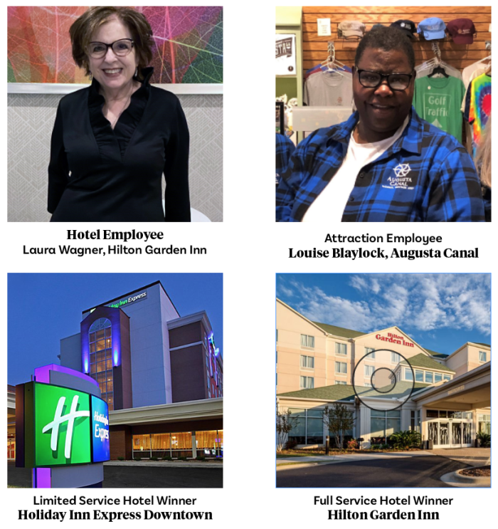 Full Service Hotel Winner: Hilton Garden Inn Limited Service Hotel Winner: Holiday Inn Express Downtown Hotel Employee: Laura Wagner, Hilton Garden Inn Attraction Employee: Louise Blaylock, Augusta Canal
