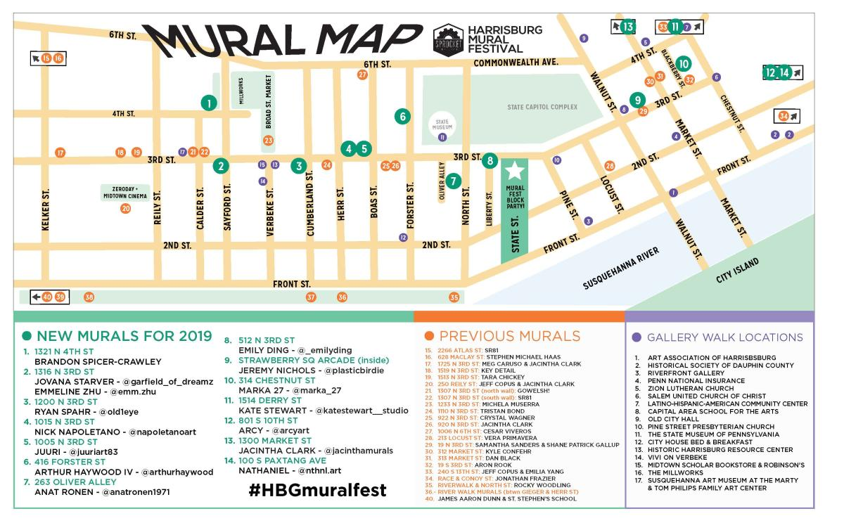 Harrisburg Mural Trail Map
