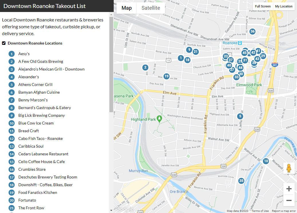 Downtown Roanoke Takeout Map