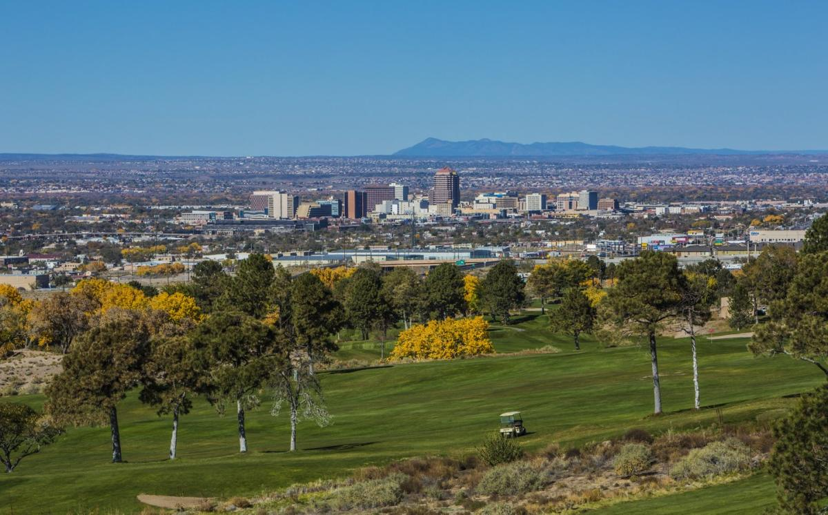 View of the city's skyline from the Championship Golf Course.