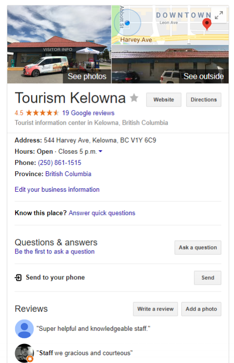 Visitor Centre Google Listing