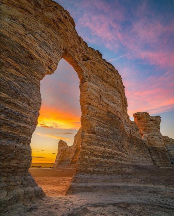 Sunset at Monument Rocks