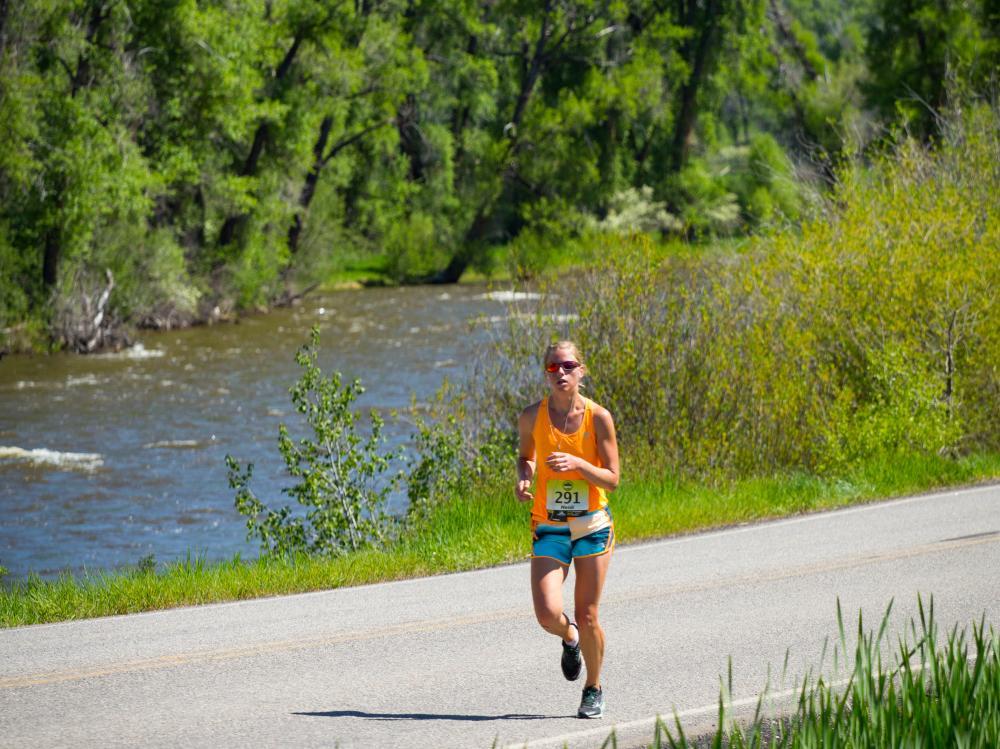 Running along the Elk River in the Steamboat Half Marathon.