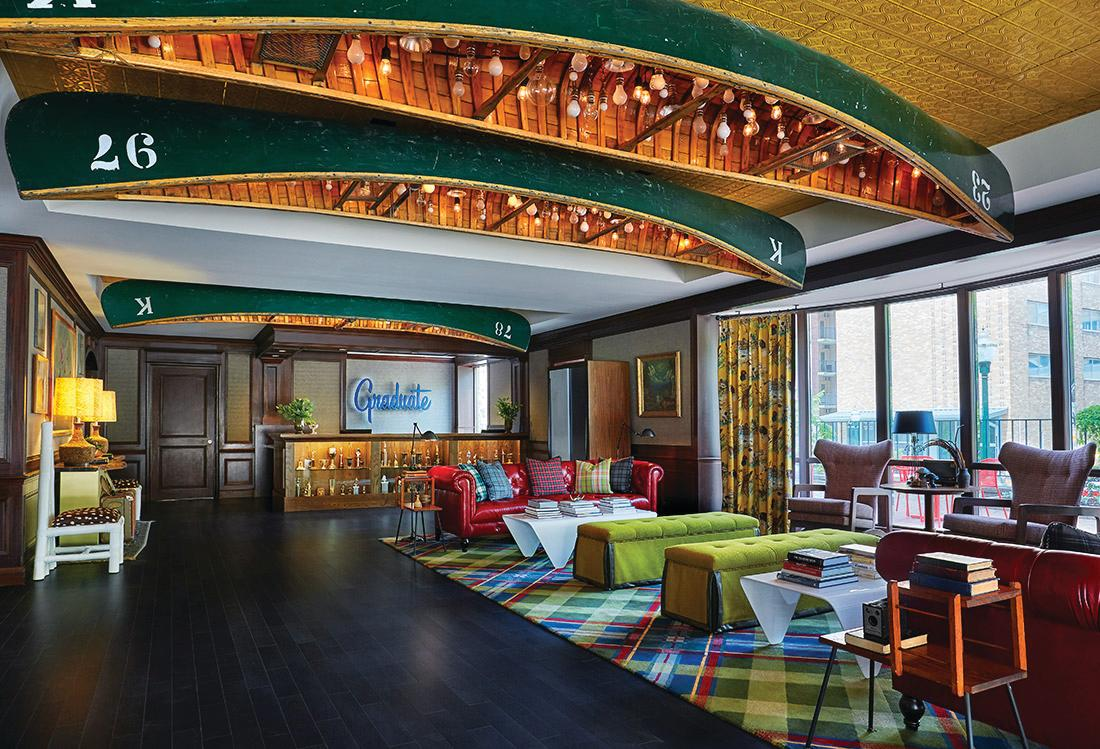 The lobby of the Graduate hotel in Madison, WI