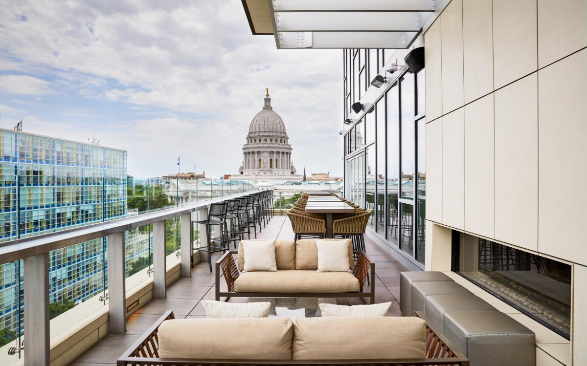 A view of the State Capitol building from Eno Vino at the AC Hotel