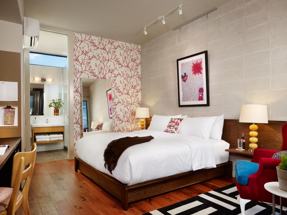 Guest room at Heywood Hotel boutique hotel in Austin Texas