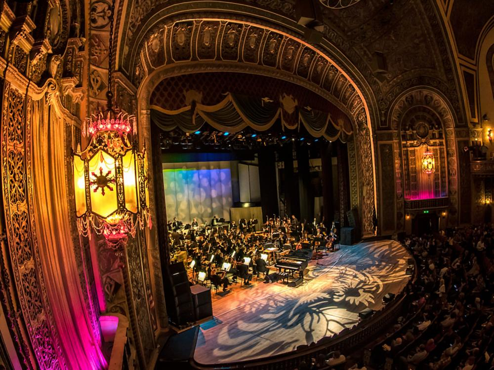 Fort Wayne Philharmonic playing on the Embassy Theatre stage in Fort Wayne, Indiana