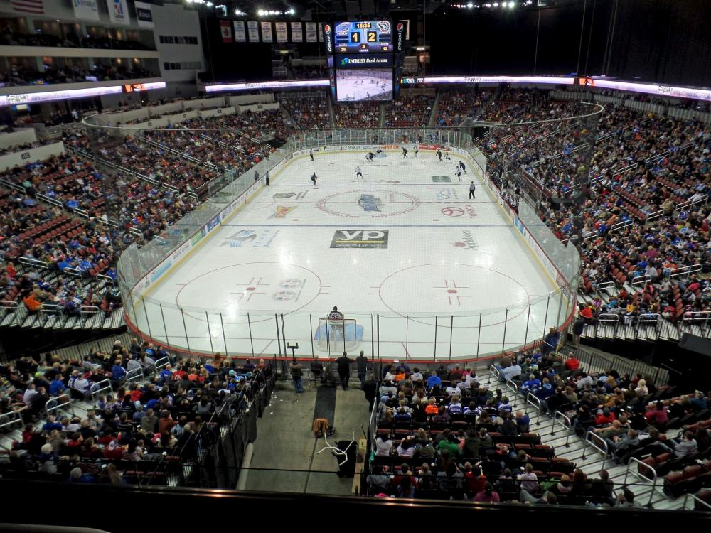 The Wichita Thunder Hockey Team compete against the Quad City Mallards in front of a packed INTRUST Bank Arena