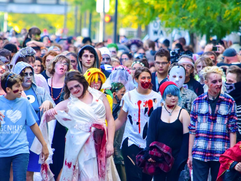 Fright Night Zombie Walk Crowd