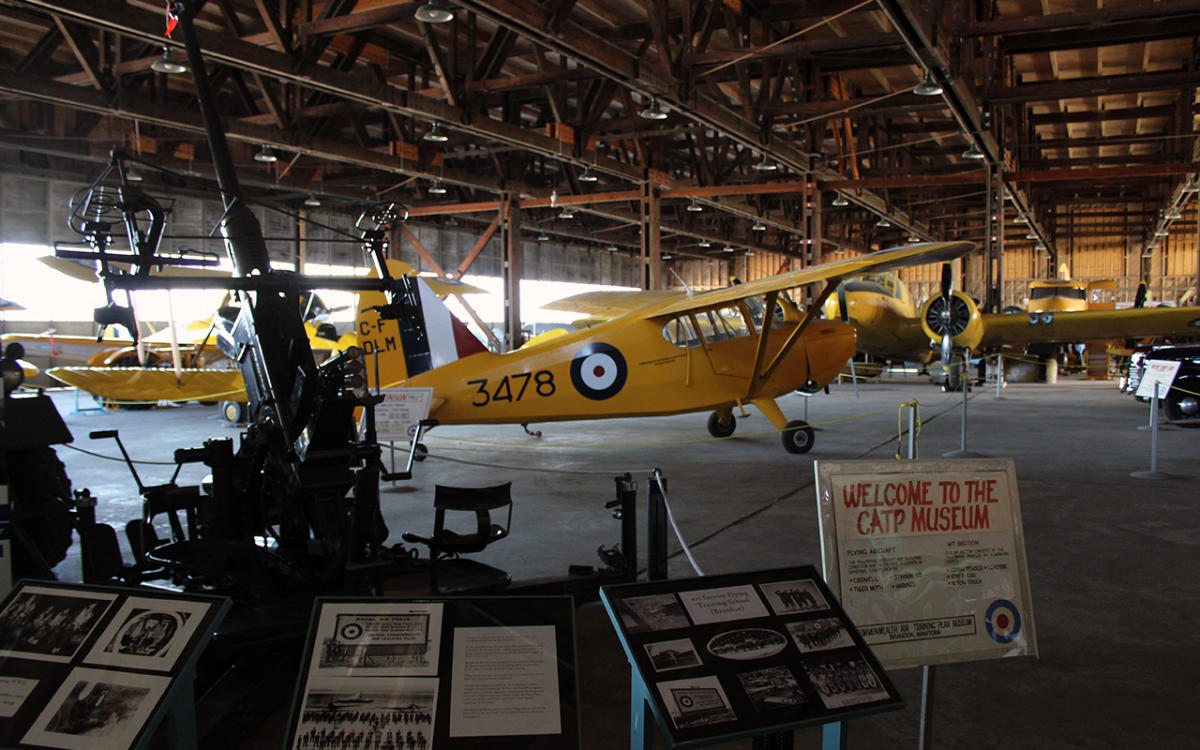Shot of the planes in the hangar as you enter the Commonwealth Air Training Plan Museum, Brandon, Manitoba