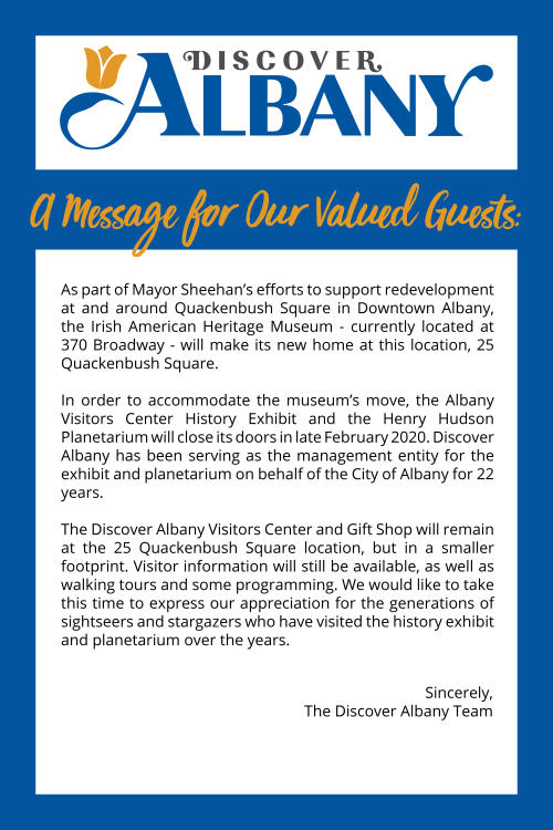 Discover Albany Visitors Center Transition Sign