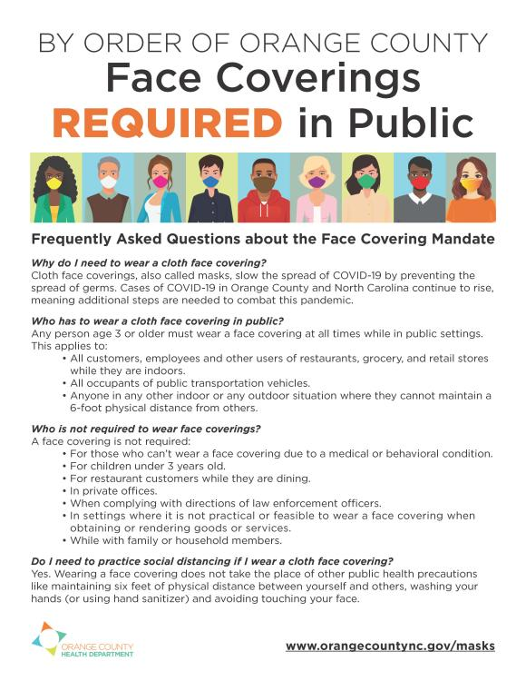 Updated Face Covering requirement document