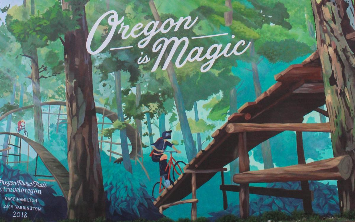 Travel Oregon Oakridge Oregon is Magic Mural by Natalie Inouye