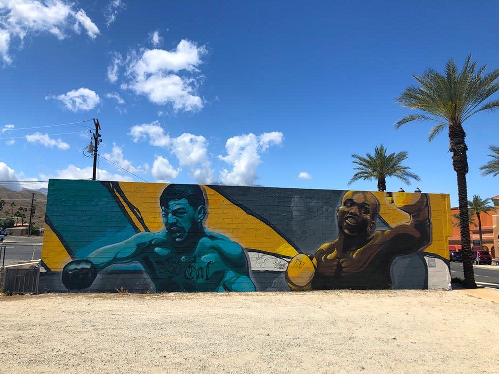 Mural of boxers