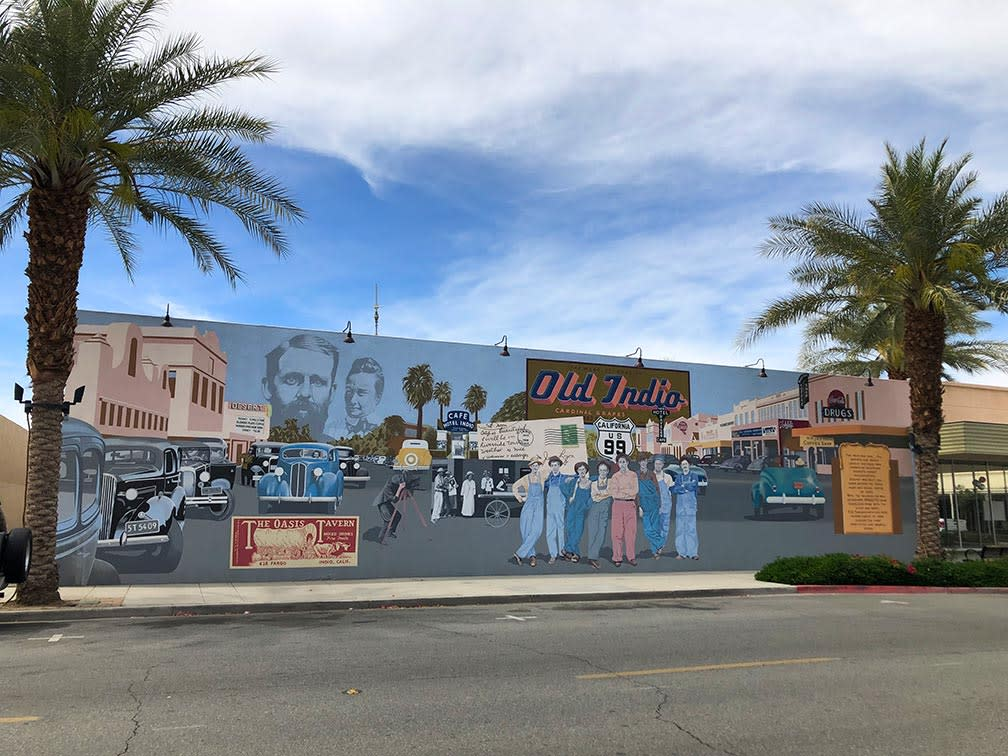 Mural of the city of Indio in the 60s