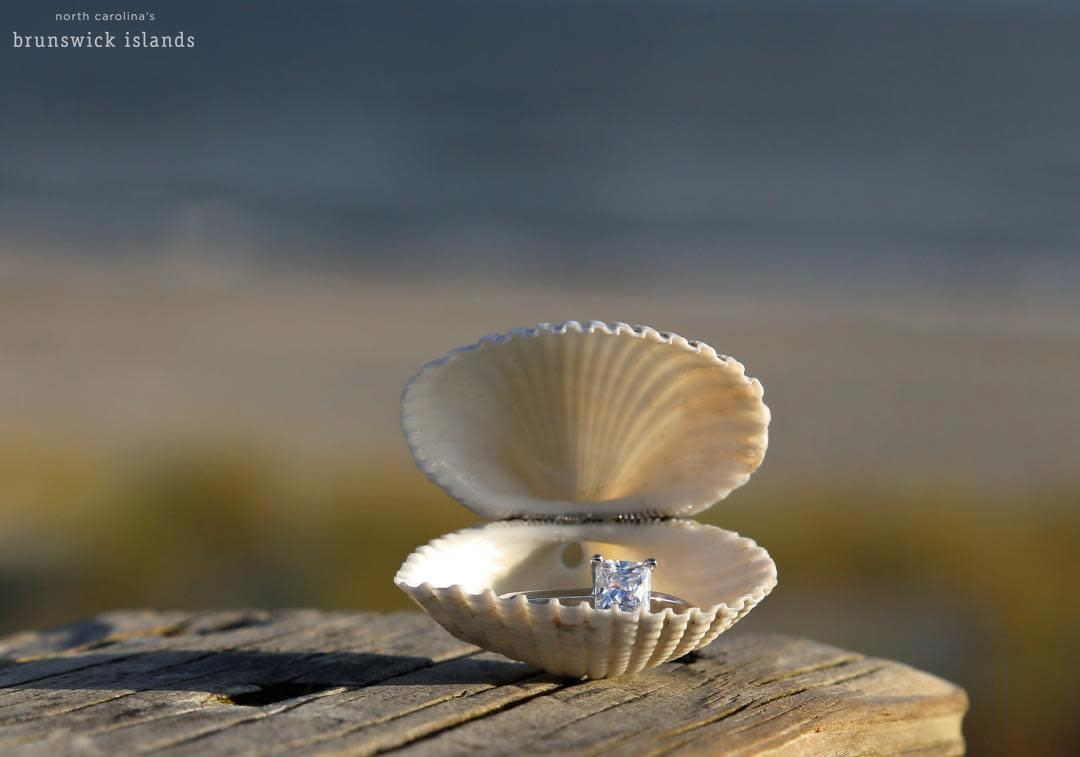Engagement ring in shell in North Carolina's Brunswick Islands