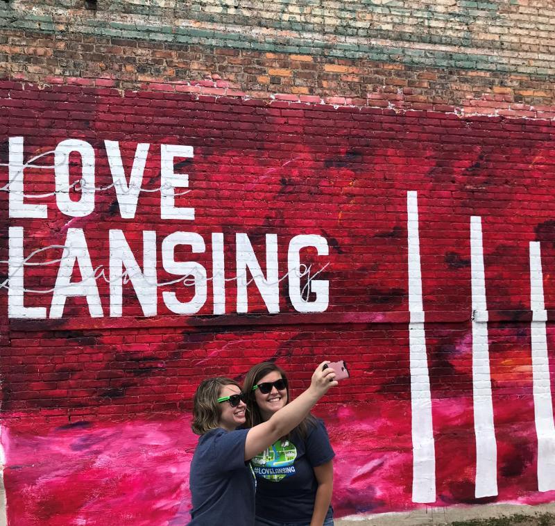 Love Lansing Mural Selfie