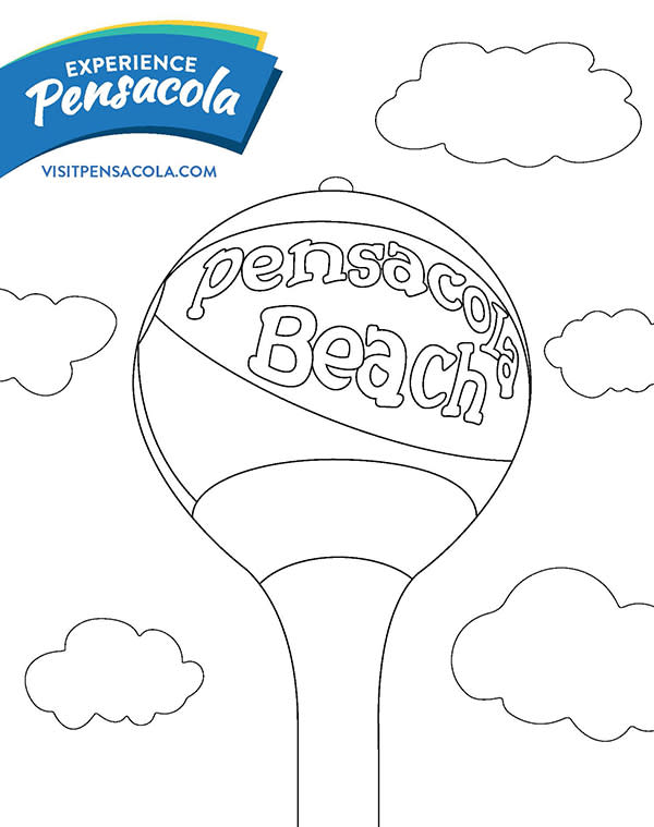 Pensacola Beach Coloring Sheet