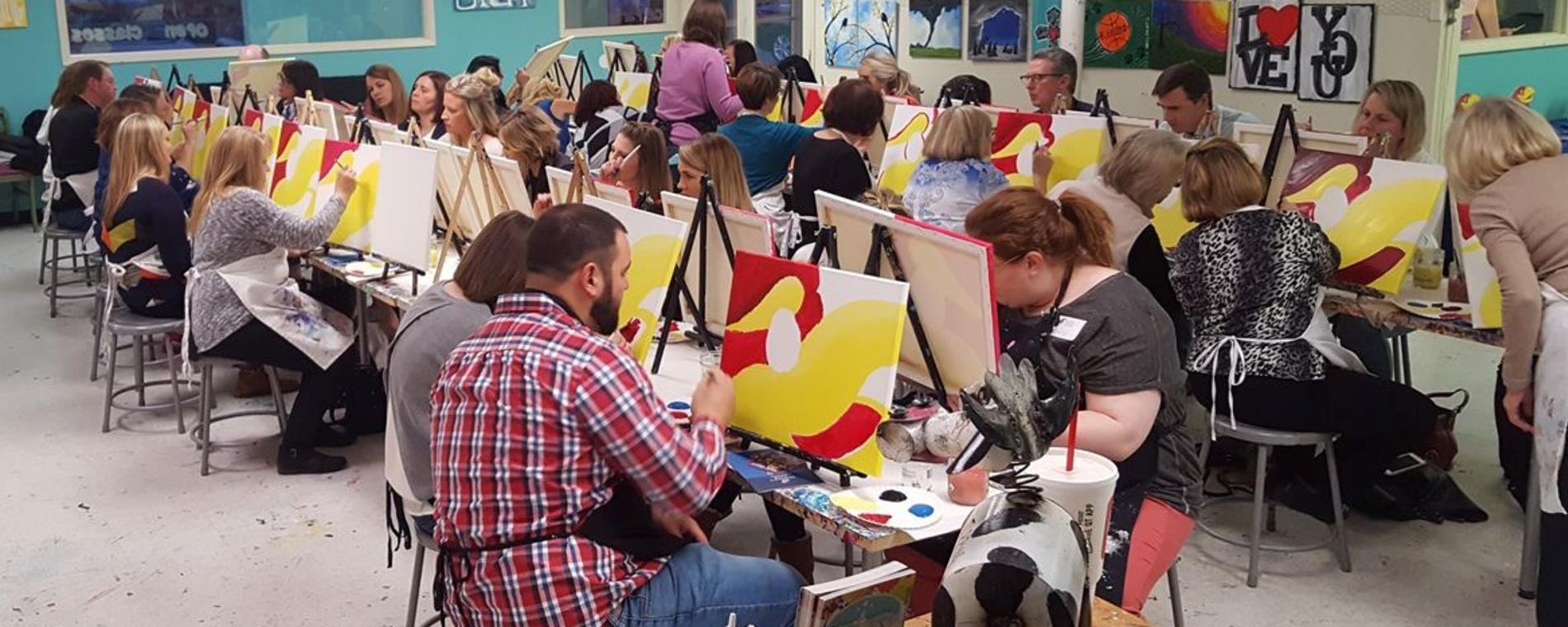 Paint the Towne Red Yellow Swirls Visit Wichita