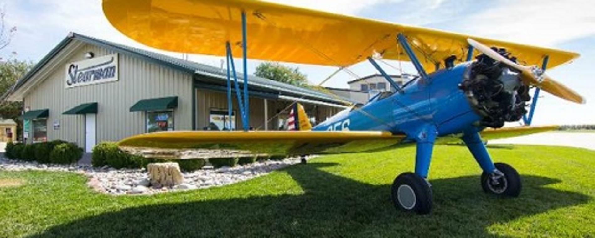 Stearman Bar/Grill Exterior with Plane Visit Wichita