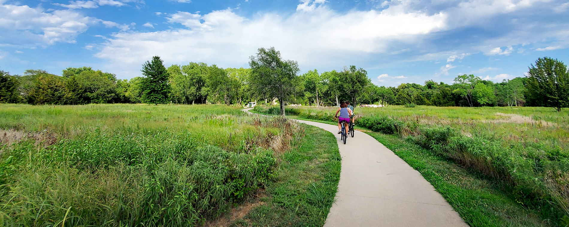 Cyclists on the Path at Swanson Park Wichita