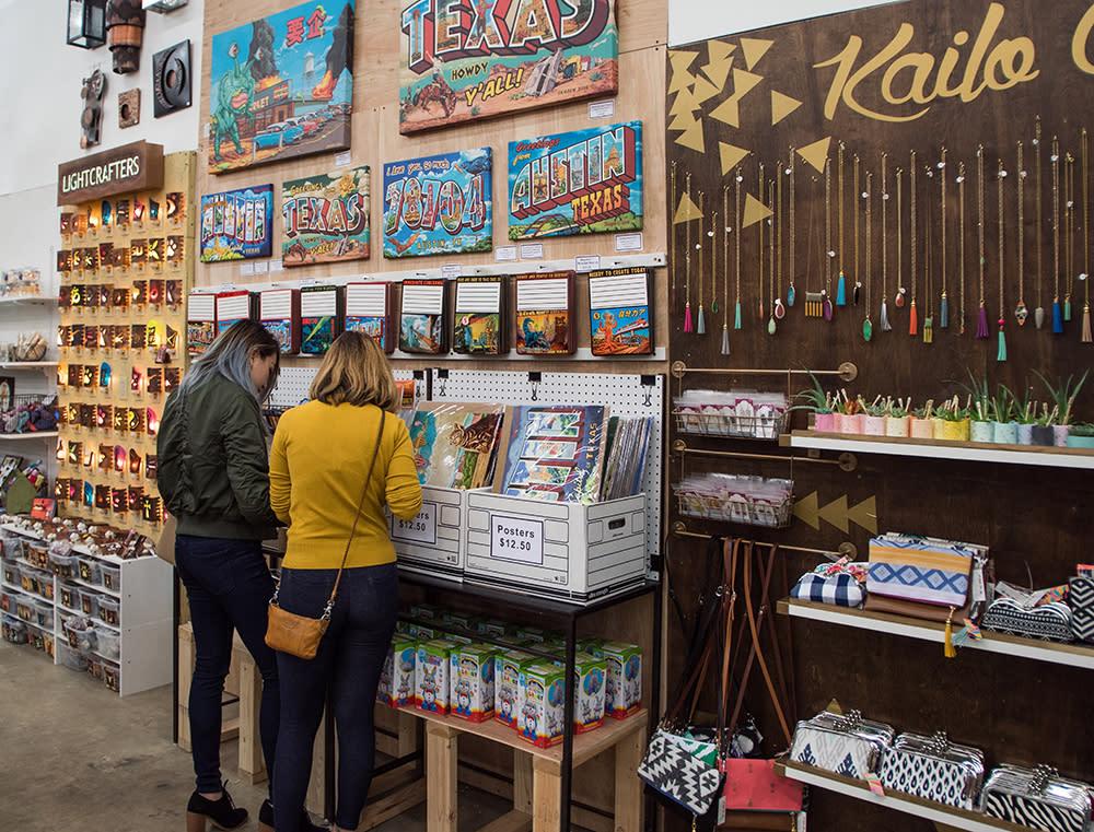 shoppers at Blue Genie Art Bazaar in austin texas