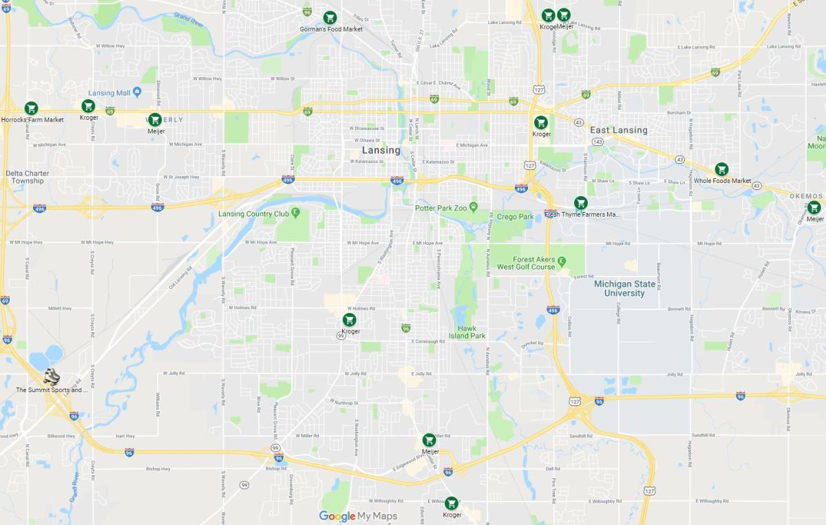 Mitten Kitten Area Grocery Stores Map