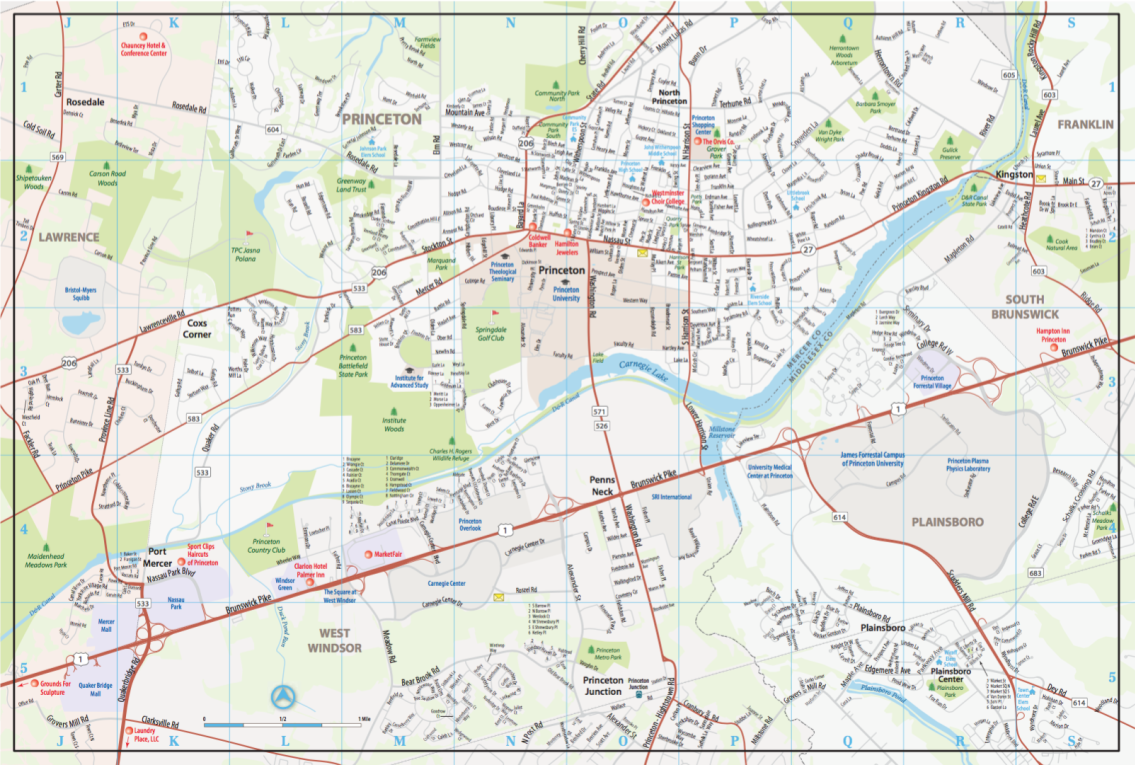 Map of Princeton, New Jersey
