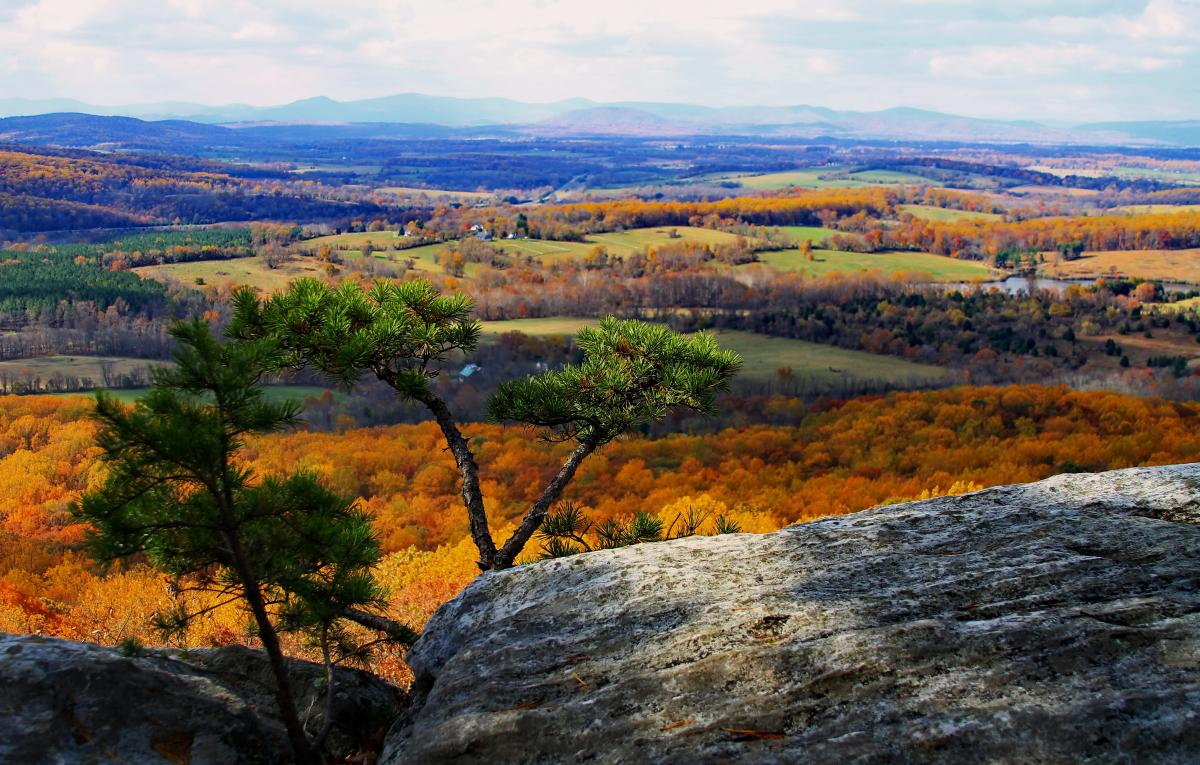 Overlook at Bull Run Mountains with scenic fall foliage