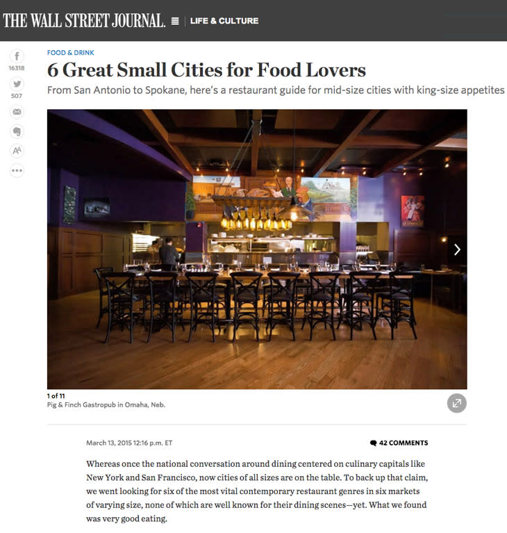 Wall Street Journal article - 6 Great Small Cities for Food Lovers