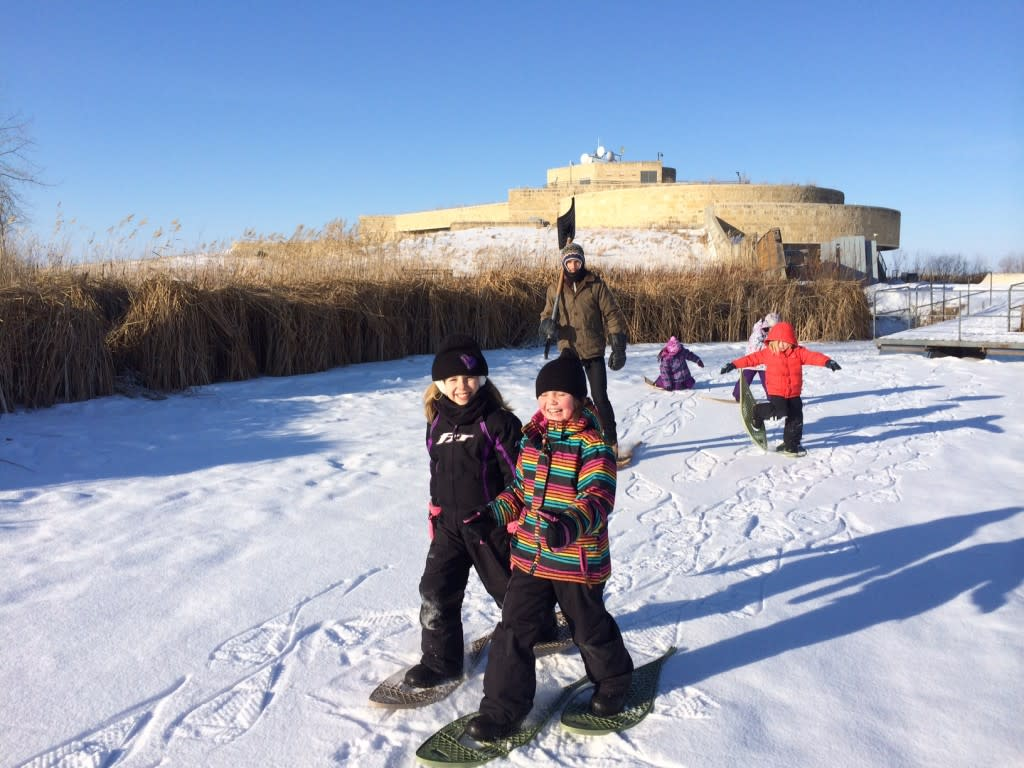 Oak Hammock Marsh - family fun- snowshoeing