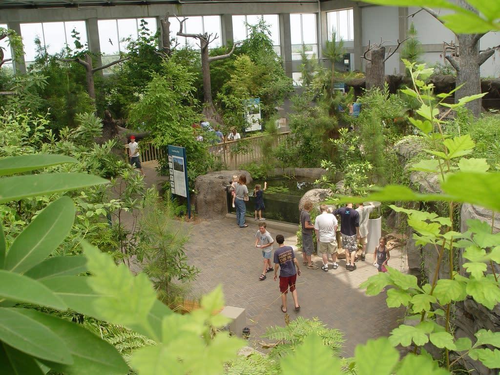 Visitors inside the North Carolina Aquarium at Fort Fisher