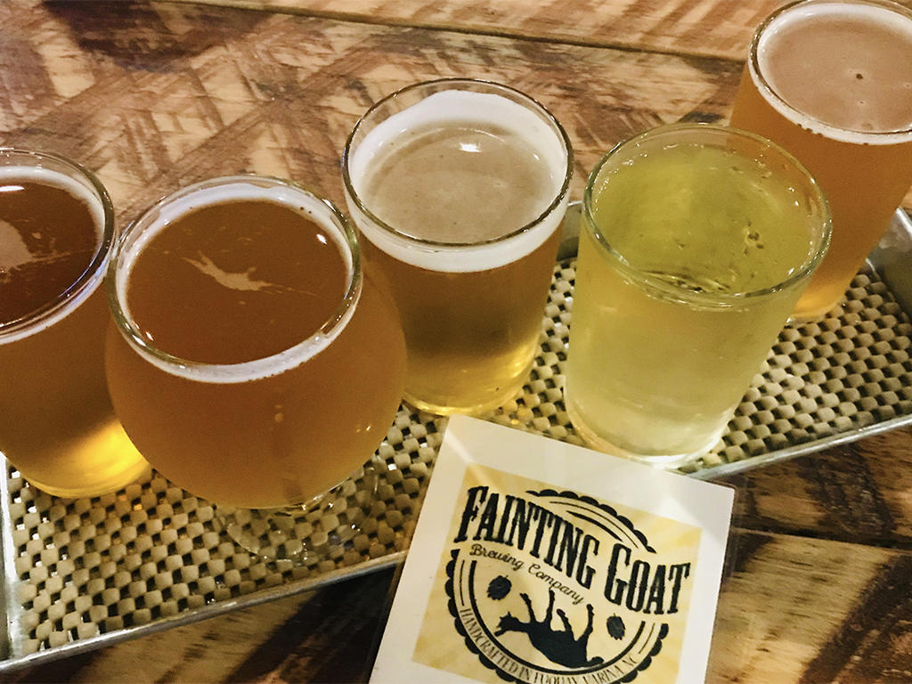 Flight of beer at Fainting Goat Brewing Co. in Benson, NC.