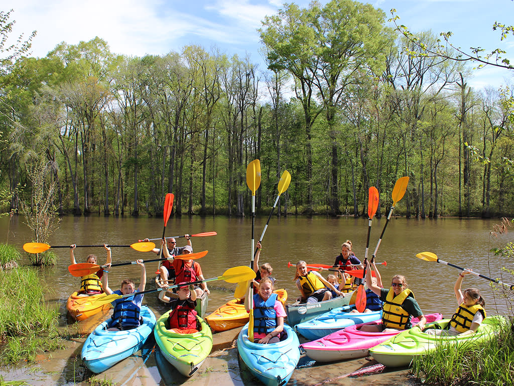 Howell Woods kayak trip during summer camp, a weeklong program.