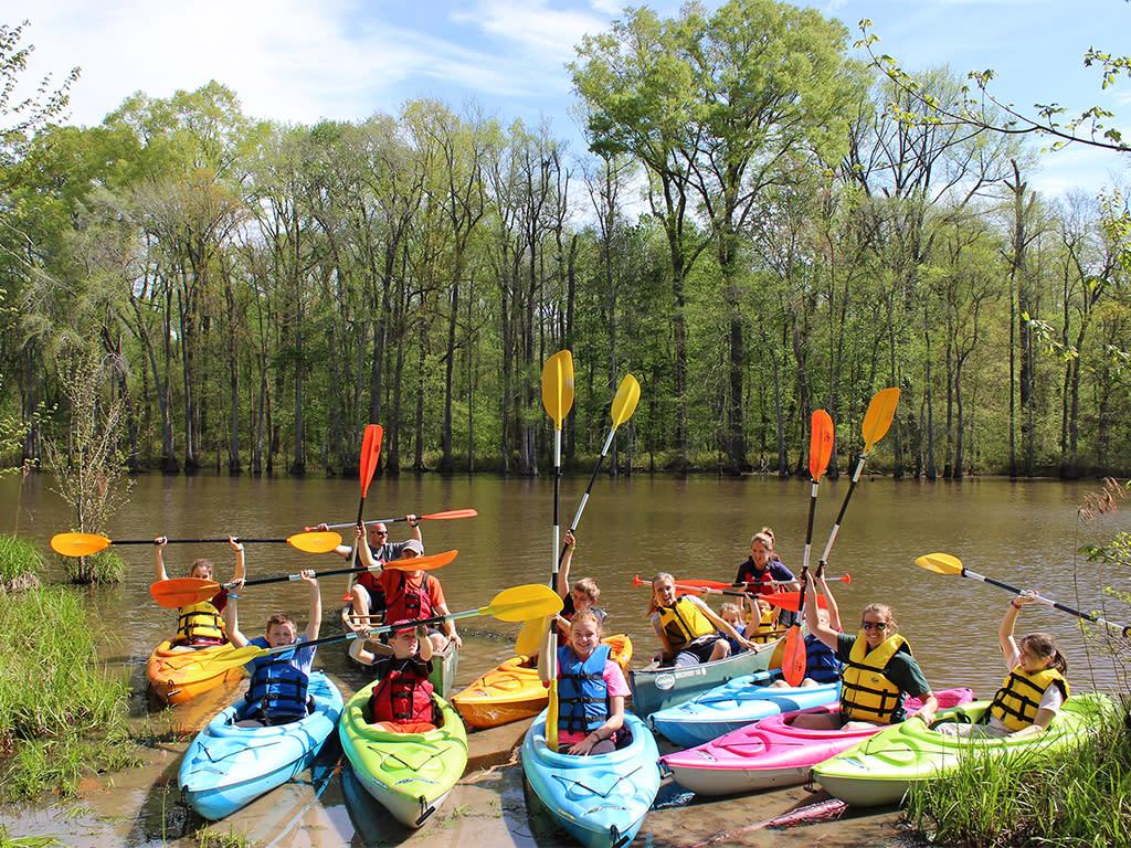 Howell Woods kayak trip during summer camp, a weeklong program.