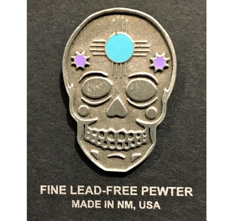 Sugar skull pewter pin