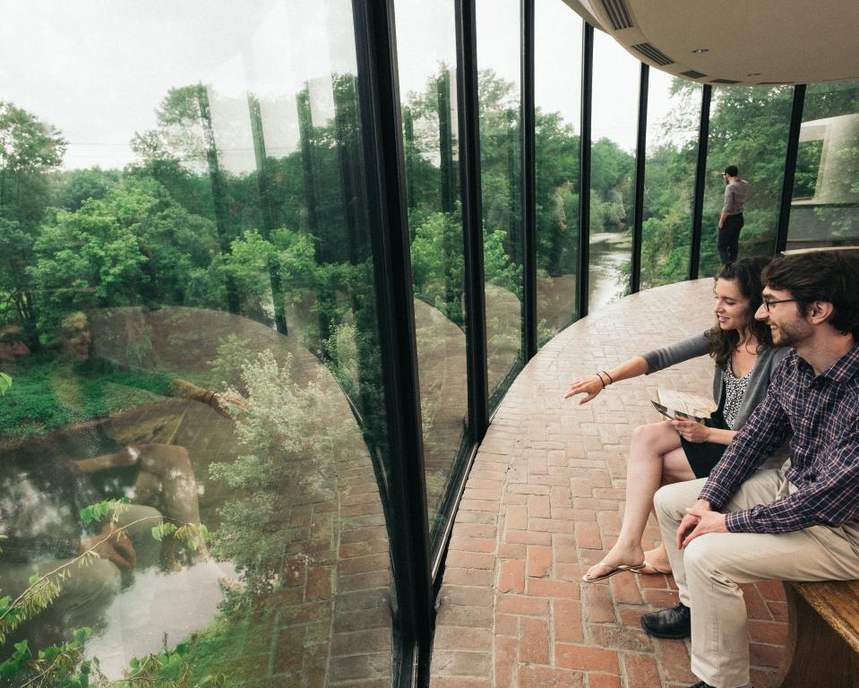 The Museum's floor-to-ceiling attrium windows overlook the beautiful Brandywine River