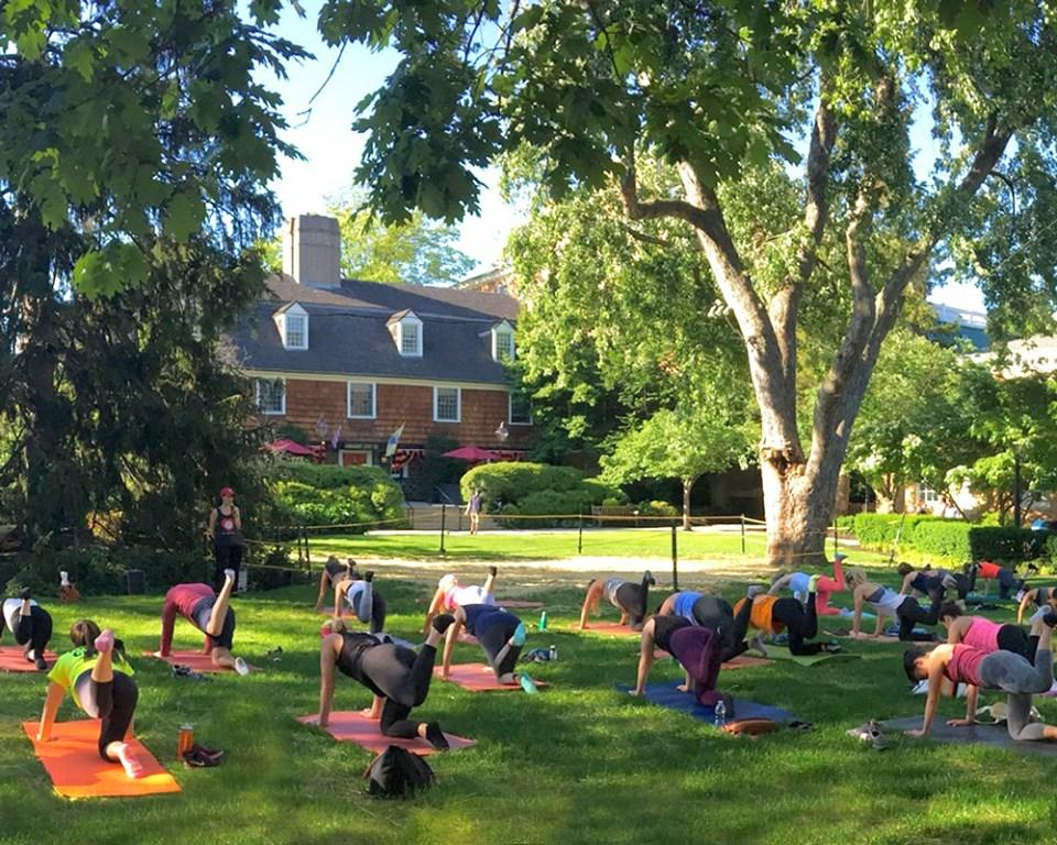An exercise class happening on Palmer Square
