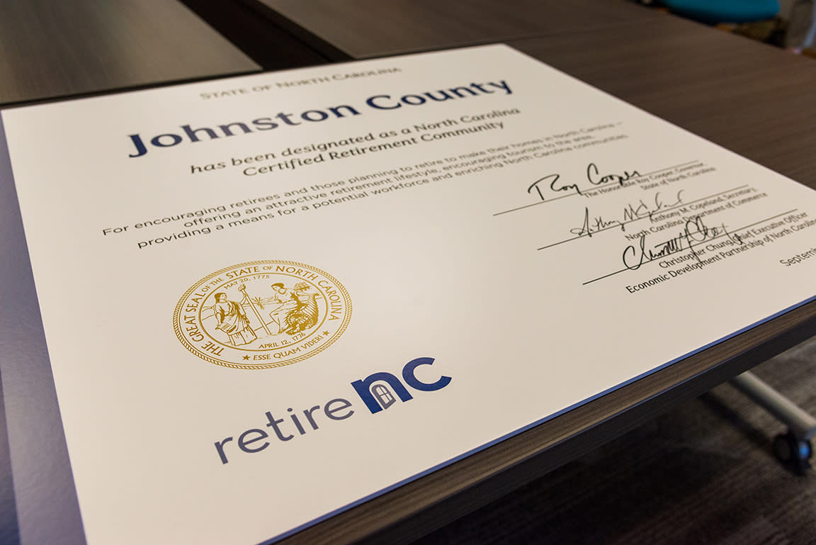 Retire NC Certificate presented to JCVB staff.